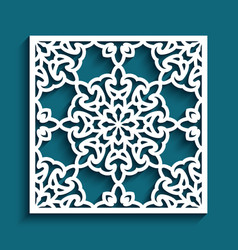 ornamental tile with cutout paper pattern vector image