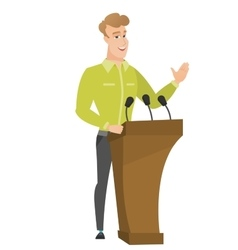 Politician giving a speech from tribune vector image