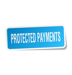 Protected payments square sticker on white vector