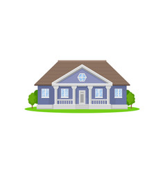 purple country house with wooden roof family home vector image