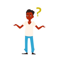 Puzzled african american has question flat vector