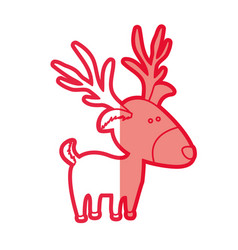 Red silhouette of caricature reindeer stand vector