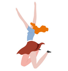 Redhead woman jumping with joy and excitement side vector