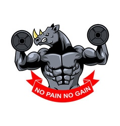 Rhino muscle barbel vector
