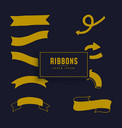 ribbons collection on dark blue background vector image