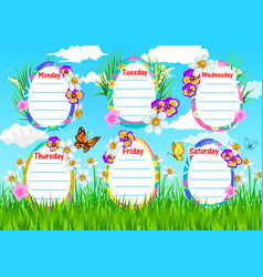 School timetable template spring flowers vector