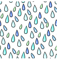 seamless colorful rain drops pattern background on vector image