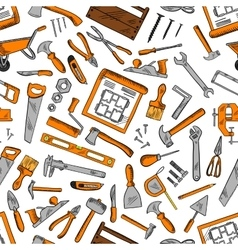 Seamless pattern of construction tools background vector