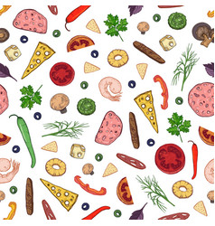 seamless pattern with tasty ingredients or vector image