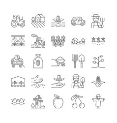 set farming and agriculture line icons vector image
