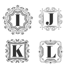 Set of classical logo or monogram design Letters vector image