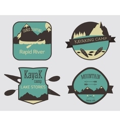 Set of Kayaking campsite logo templates Outdoor vector