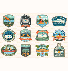 Set summer camp canoe and kayak club badges vector