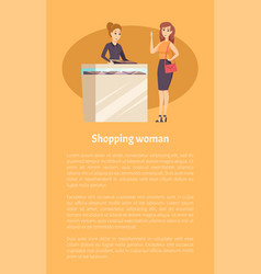 Shopping woman female in jewelry store poster vector