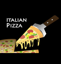 slice pizza on black background vector image