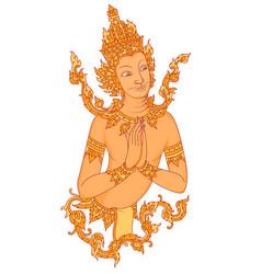 Thai style angel art pattern vector
