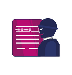 thief man with document and password vector image
