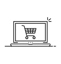 thin line shopping cart in laptop vector image