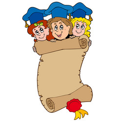three graduating kids with scroll vector image