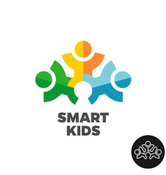 Three kids club logo concept Stylized people vector