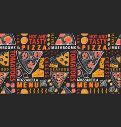 typographic italian pizza and ingredients vector image