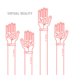 Virtual reality with thin line hands up vector