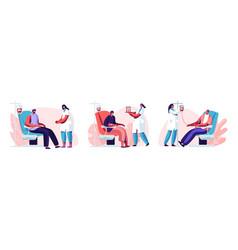 Volunteers characters sitting in medical hospital vector