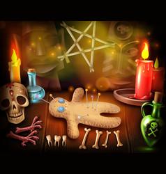 Voodoo doll mystique poster vector