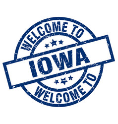 Welcome to iowa blue stamp vector