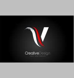 White and red v letter design brush paint stroke vector