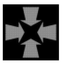 White halftone shrink arrows icon vector