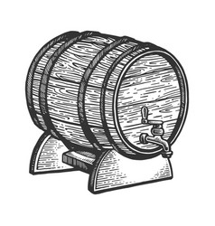 wine beer barrel engraving vector image