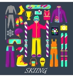 Winter Equipment for Skiing Icons Set vector