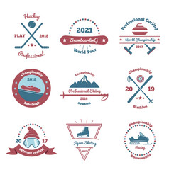 Winter sports color emblems set vector