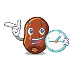With clock dates fruit character cartoon vector
