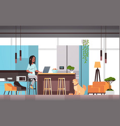 woman freelancer using laptop working at home vector image