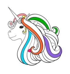 Adult coloring book page with unicorn heart star vector image vector image