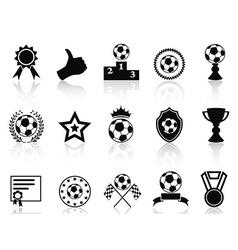 black soccer award icons set vector image