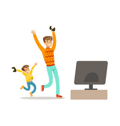 father and son winning console gamepart of happy vector image vector image