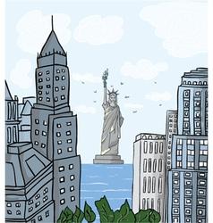 new york cartoon background vector image vector image