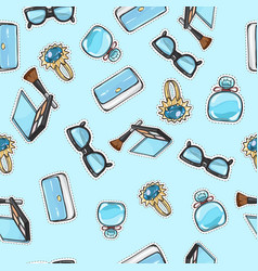 set of accessories purse ring eyeshadows brush vector image