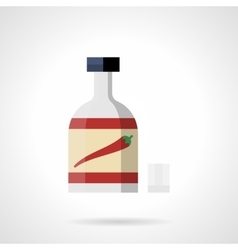 Chili on a bottle flat color icon vector image