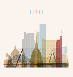 turin skyline detailed silhouette vector image