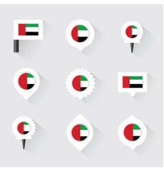 united arab emirates flag and pins for vector image vector image