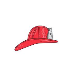 vintage fireman firefighter helmet drawing vector image