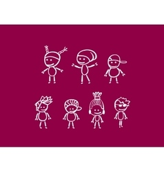 White doodle characters on purple vector image