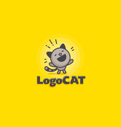 cute cat logo on a yellow background vector image vector image