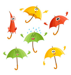 cute funny umbrella characters with human face vector image