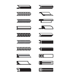 Metal plastic and wooden trims vector image vector image