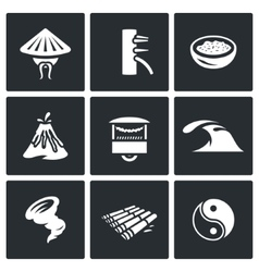 Set of Vietnam Icons Vietnamese Wing Chun vector image